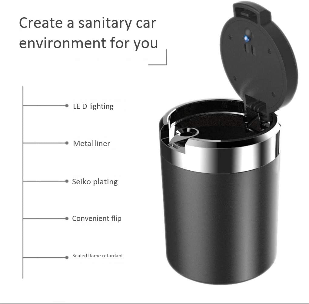 With Light With Logo Removable Cup Holder Compatible With Audi Portable Smokeless Cylinder Multi-functional ashtray Car Ashtray With Lid Multi-function Car Interior Color : B