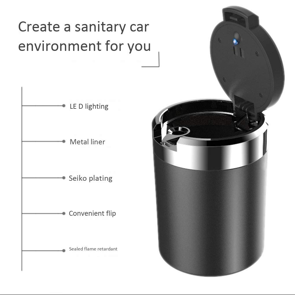 with logo with light with cover removable cup holder Color : A Ford exclusive multi-function car interior Car ashtray Car ashtray portable smokeless cylinder