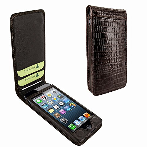 Piel Frama 595 Brown Lizard Magnetic Leather Case for Apple iPhone 5 / 5S / SE by Piel Frama