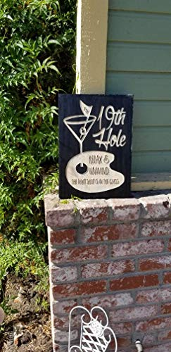 Distressed Rustic Wood Sign Golf Wood Sign Gift 19th Hole Relax Unwind The Next Shot is in The Glass Bar Decor Printed