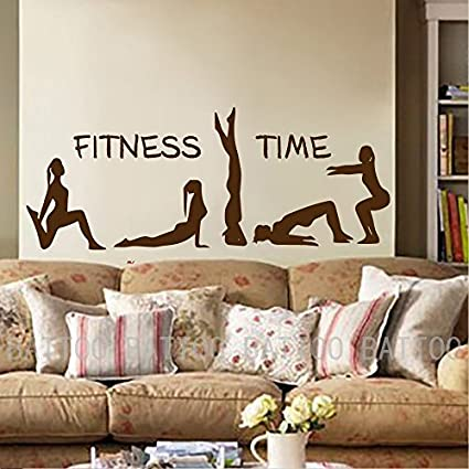 Amazon.com: Yoga Wall Decal - Fitness Time Yoga Studio ...