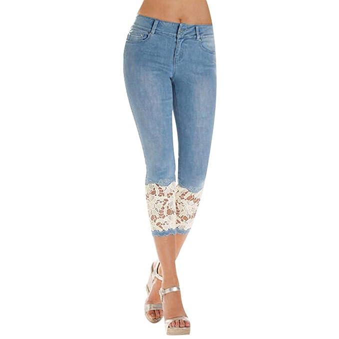 Las Mujeres Señoras de Encaje Cosido Pantalones Denim ...
