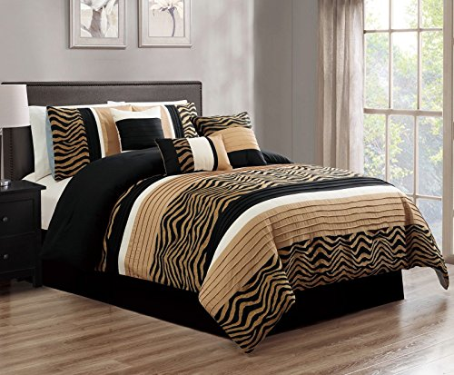 Zleep Bed 7-Piece Black Camel Coffee Chenille Zebra Striped Pleated Comforter Set, King