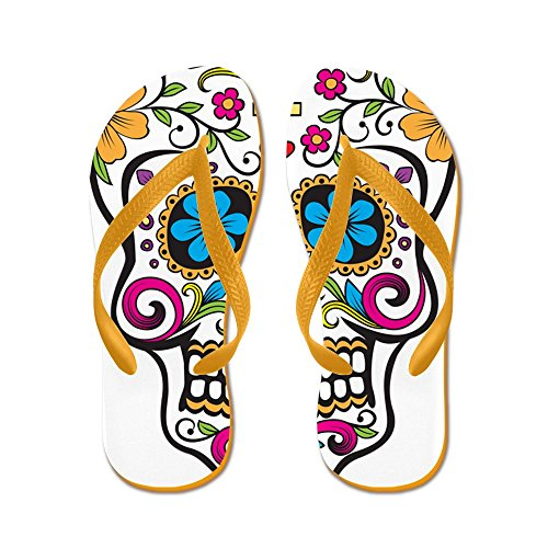 CafePress Sugar Skull - Flip Flops, Funny Thong Sandals, Beach Sandals Orange