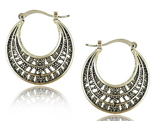 (Richy-Glory - Silver Plated Hoop Basketball Wives Round Fancy Hoop Earrings)