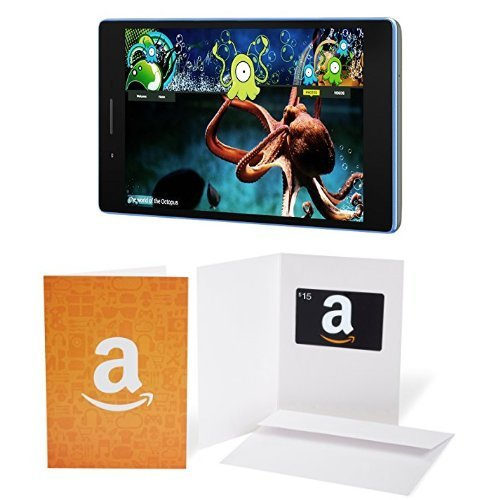 Lenovo Tab 3 7, 7'' IPS Tablet (MediaTek 1.0 GHz Quad-Core, 1GB, 16GB, Android 6.0), Black ZA110158US + Amazon.com $15 Gift Card in a Greeting Card (Amazon Icons Design) at Electronic-Readers.com