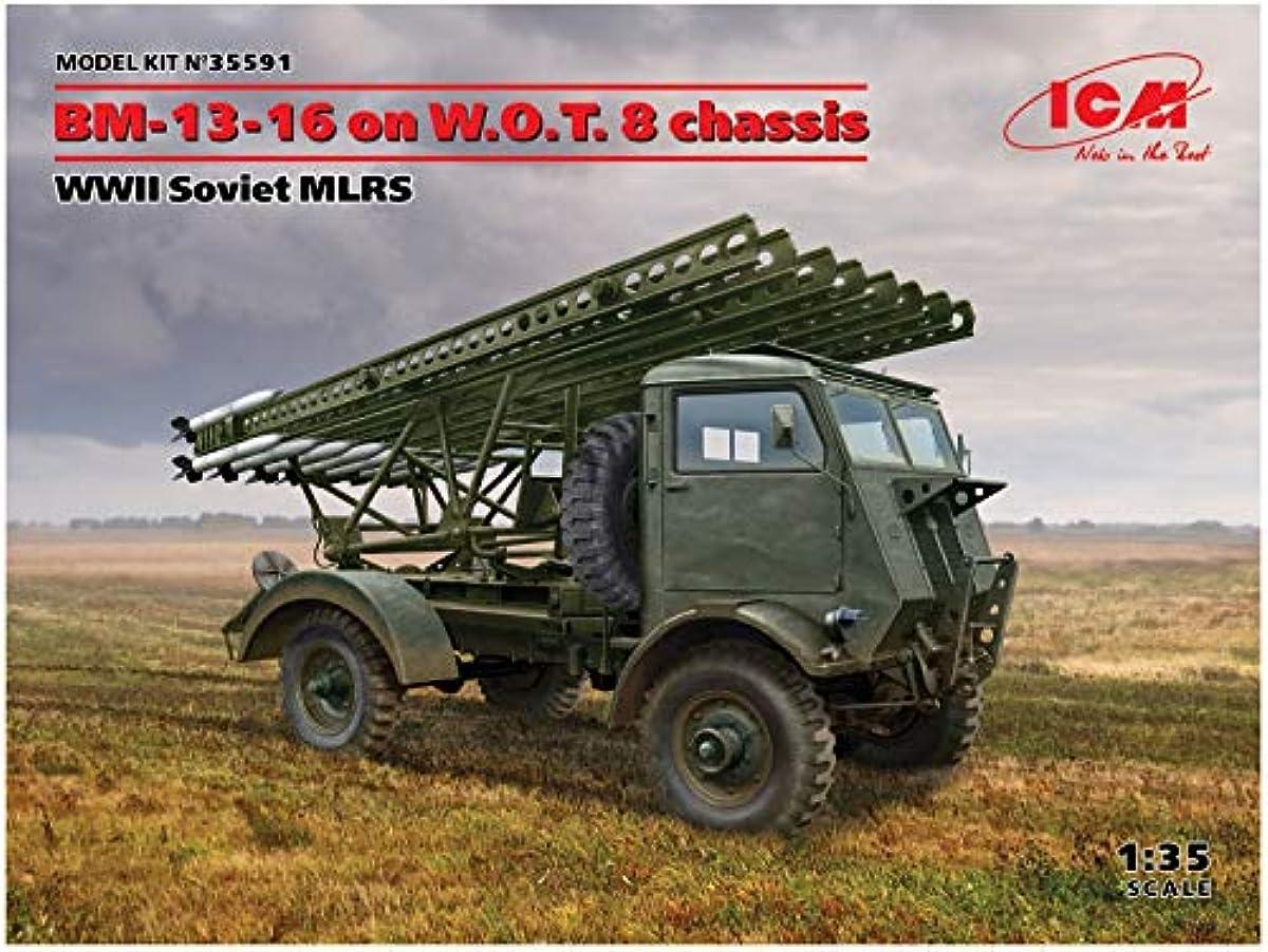[해외] ICM 1/35 제2차 세계 대전 소비에트군 BM-13-16 다연장로켓 런처 W.O.T8차체 프라모델  35591