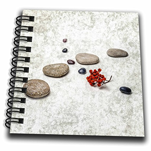 3dRose Alexis Photography - Objects Zen - Intersection of stones and pebbles, cluster of red rowan berries. Zen - Mini Notepad 4 x 4 inch (db_265666_3)