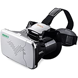 Virtual Reality Headset, RITECH Riem III 3D VR Headset Glasses 360 Panoramic Large Viewing Immersive HD with Bluetooth Remote Controller Mini Gamepad for Android Devices iOS Devices Smartphones