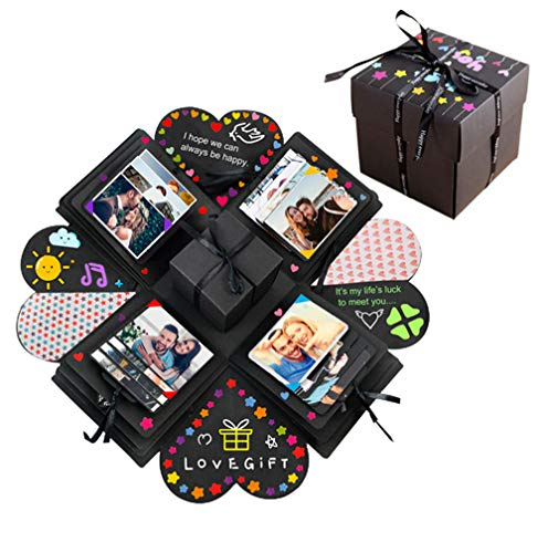 Yillsen Creative Explosion Gift Box,DIY Surprise Box,Handmade Scrapbook Photo Album Box Wedding Proposal Engagement Birthday Valentine's Day Anniversary Gifts,Black -