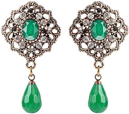 Pendientes de gota de piedra natural para las mujeres joyería bohemia étnica antique oro color verde cristal pendientes de fiesta regalos