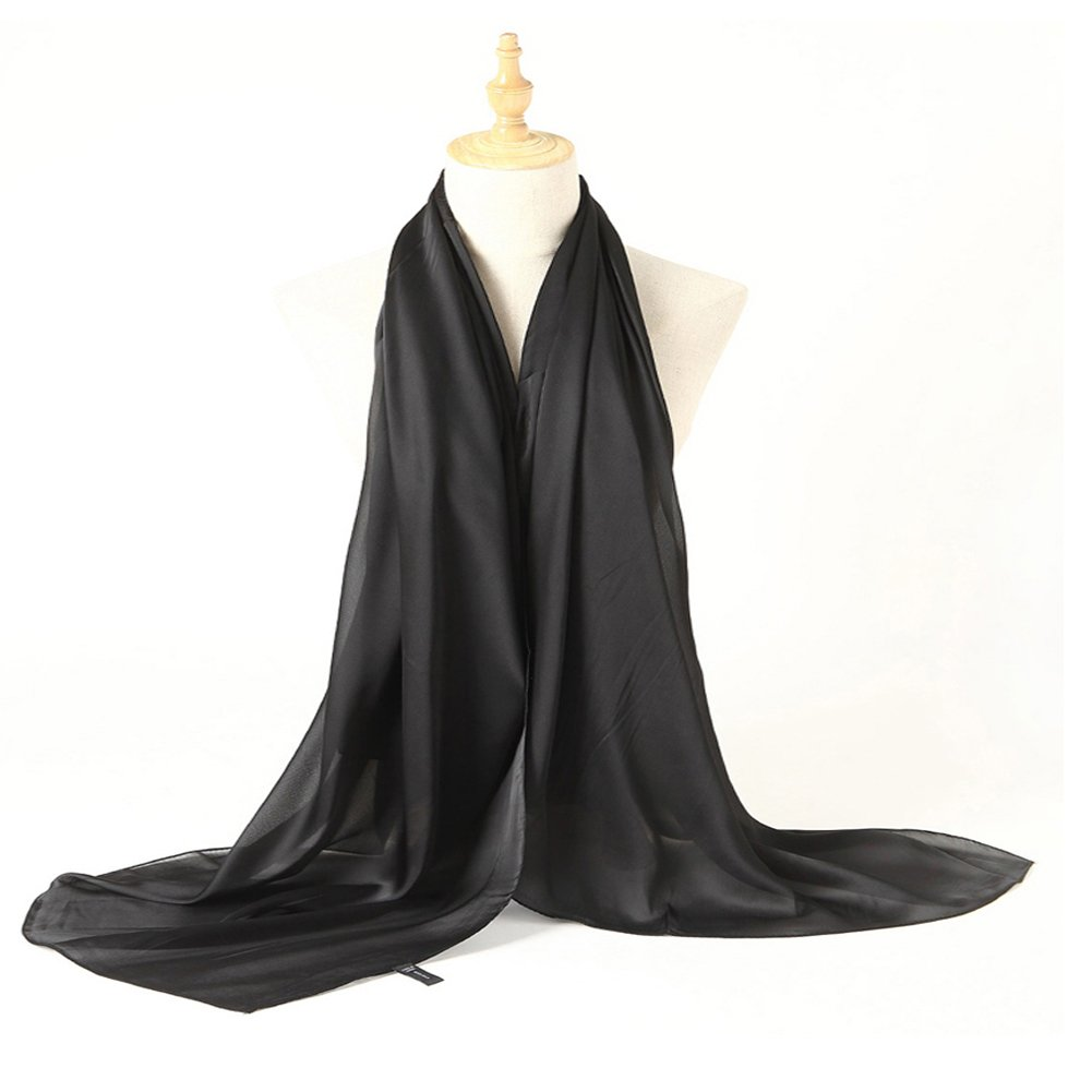 Bellonesc Silk Scarf 100% silk Long Lightweight Sunscreen Shawls for Women (black) by Bellonesc