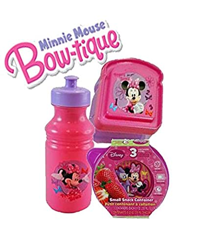 Disney Jr. Minnie Mouse Bow-Tique 5 Pc. Lunch Box Set! Includes Resuable Sandwich Container, Pull Top Water Bottle & Sm. Round Snack Containers!