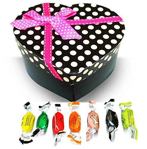 Dulcefina, Valentine Italian Filled Candy Assortment Red Polka Dots Heart Box w/Bow (1 pcs) (Valentine Dots)