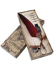 Conjunto de Pluma de Plumaje de Tinta con Tallado Vintagepara Caligrafía Escritura (5Pcs Semilla de Reemplazo)(Red)