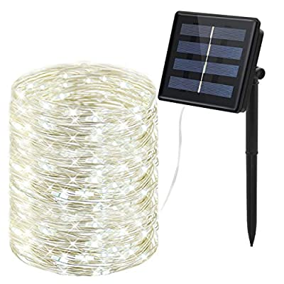 Prefer Green Solar String Lights 100 LED 33ft 8 Modes Lights Indoor/Outdoor Waterproof Decorative String Lights for Garden, Patio, Home, Yard Party, Wedding, Christmas