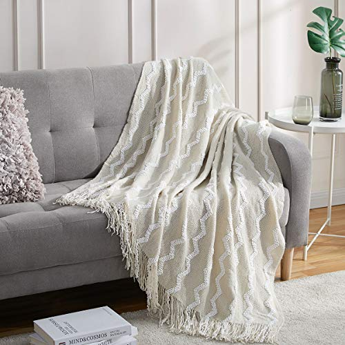 Bourina Fluffy Chenille Knitted Fringe Throw Blanket Lightweight Soft Cozy for Bed Sofa Chair Throw Blankets