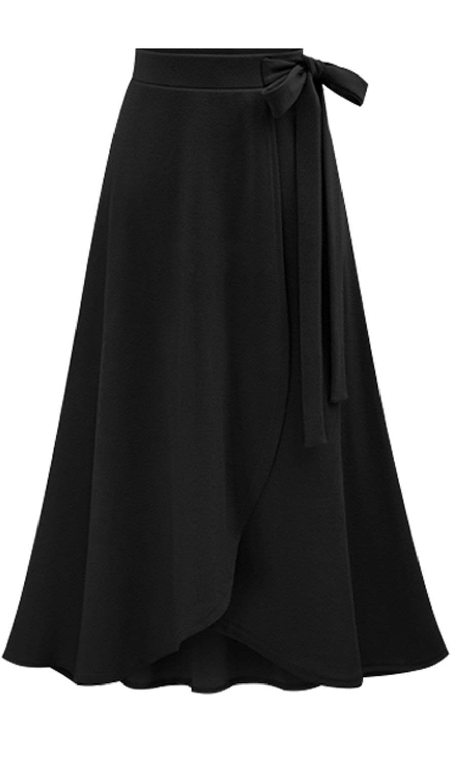 Les umes Womens Fashion Bow-Knot Flare Skirt Elastic High Waist Spring Fall Midi A Line Knit Skirts Black L by Les umes