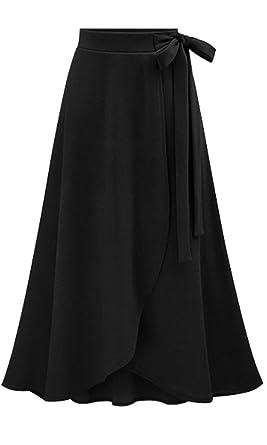 9705dd2ce9 Les umes Womens Fashion Bow-Knot Flare Skirt Elastic High Waist Spring Fall  Midi A
