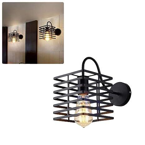 Lámpara de pared de metal industrial con jaula de metal ...