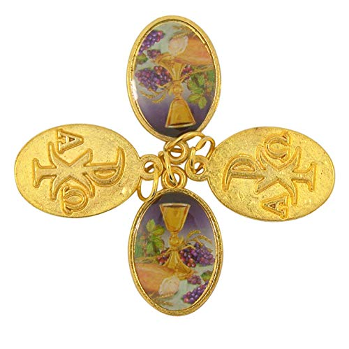 - Body of Christ Chalice Medal Pendant for Girls, 1 Inch, Pack of 4