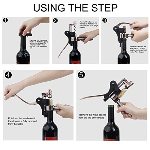 Aonesy Wine Bottle Opener, All-In-One Manual Rabbit Corkscrew Set - 8 Piece Bundle with Stand, Wine Stoppers, Foil Cutter, EXTRA Spiral - Great Set for Women and Men by AONESY (Image #4)
