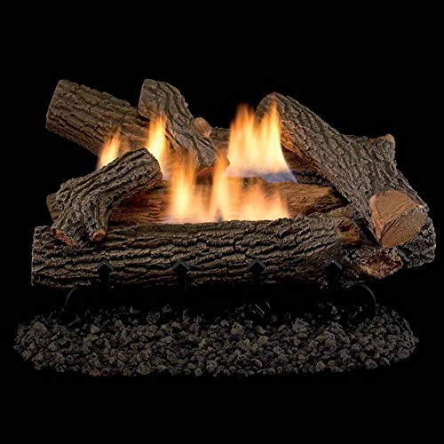 Superior Fireplaces 24-Inch Crescent Hill Gas Log Set with Vent-Free Natural Gas Dual Flame Burner - Manual Safety Pilot