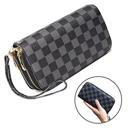 - Wristlet Wallets for Women Leather Big Long Zipper Clutch RFID with Card Holder Organizer (black)