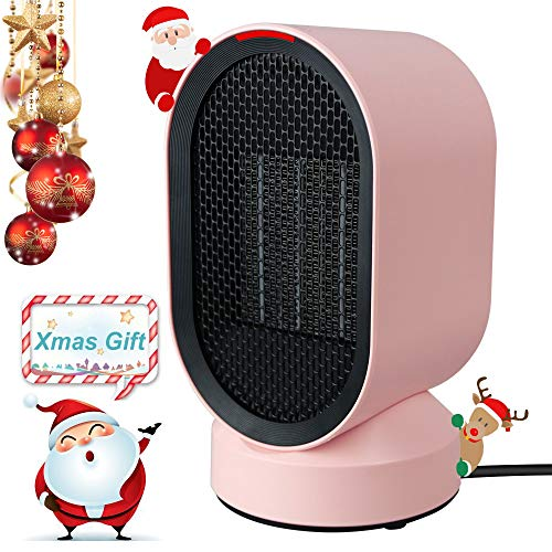 lifeholder Space, Small Ceramic Heating and Tip Over Protection, Personal Electric Auto Rotary Emit Warm and Natural Wind, Portable Heater for Bedroom, Office