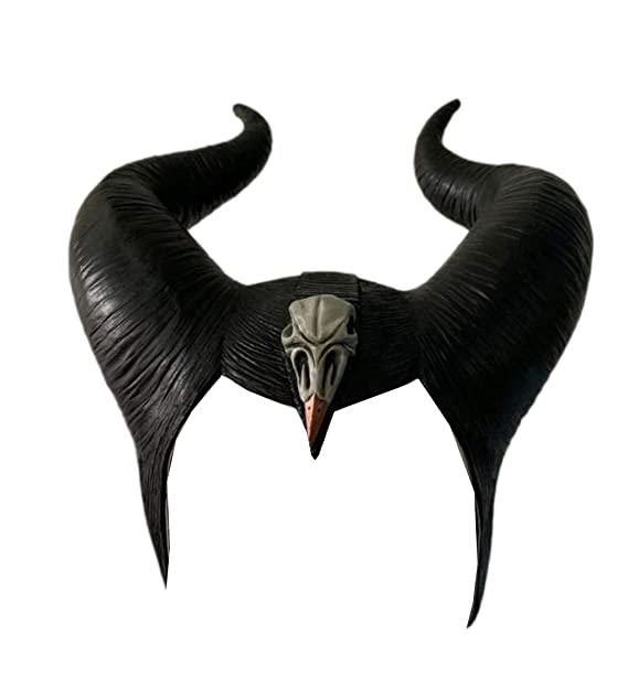 Maleficent Mistress Of Evil Headwear Latex Mask With Horns Womens Halloween Cosplay Costume Accessory