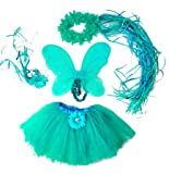 Girls Turquoise 4 Pc Flower Fairy Princess Costume. Include Fancy Flower Halo, Tutu, Wand and Wings
