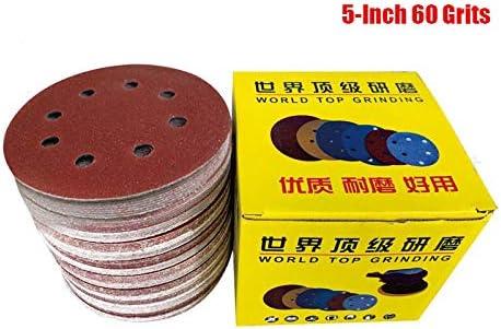 Lheng 5 Inch Dia 8 Hole 40 Grits Hook and Loop Sandpaper Sanding Disc Sheets Assorted 40Pcs
