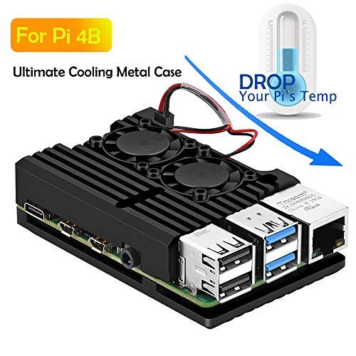Pi 4 Case, Raspberry Pi 4 Armor Case Metal Case with Dual Fan Aluminium Alloy, Raspberry Pi 4 Fan, Pi 4 Heatsink for Raspberry Pi 4 Model/Pi 4B