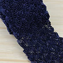 1 Yard Multicolor Chiffon Rose Flower Lace Fabric Bowknot Lace Trim Headdress DIY Applique Accessories (Navy blue)