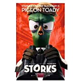Storks (2016) (8 inch by 10 inch) PHOTOGRAPH 'Stephen Kramer Glickman is Pigeon Toady' Title Poster Red Background kn