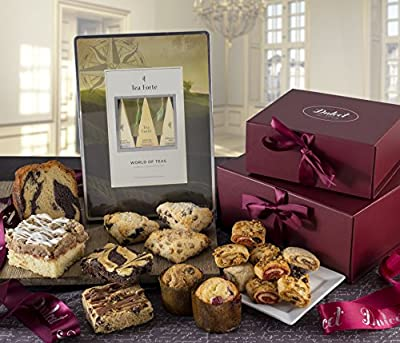Dulcet's Two Tower Gourmet Gift Box Assortment-Includes Tea,Chocolate Chip, Blueberry, and Cinnamon Scones, Raspberry Crumb Cake, Marble Pound Cake,Tea,