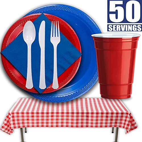 Patriotic Picnic Dinnerware for 50 Guests - Dinner