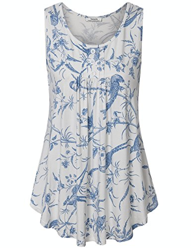 (Youtalia Womens Summer Sleeveless Scoop Neck Shirts Pleats Flowy Tunic Tank Multicolor White Medium)