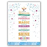 "Unicorn Art Print Set Of 1(12""X16"") Lettering Art Print Sparkle Star And Dots Printing Unicorn Gift For Girls, Canvas Prints Wall Pictures For Bedroom Home Decor,No Frame"