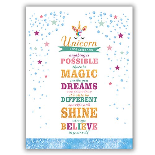 "Unicorn Art Print Set Of 1(12""X16"") Lettering Art Print Sparkle Star And Dots Printing Unicorn Gift For Girls, Canvas Prints Wall Pictures For Bedroom Home Decor,No Frame by Homdeco"
