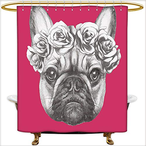 Qinyan-Home Shower Curtain Collection Cute Baby Pug Dog on a Pink Backdrop Hipster Retro Image for Hot Pink Black White and Charcoal Grey. Bathroom Decorations.W72 x H72 Inch (Conrad Lauren Collection)