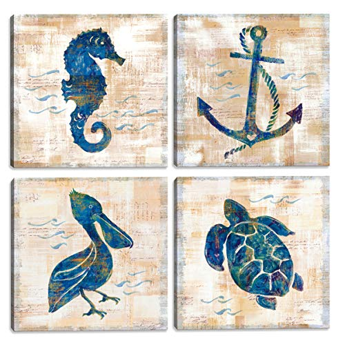 (JLXart Wall Art for Bathroom Canvas Print Picture Sea Turtle Deco Seabird Pictures Posters 4 Panel Framed Artwork Home Living Room Bedroom Wall Decoration 12x 12 x4Panel Set (Sea Turtle, 12x12inchx4) )
