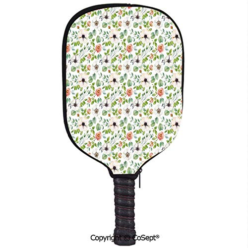 Pickleball Paddle Cover Neoprene Pickleball Racquets Cover Sleeve,Botanical Watercolor Flourish Pattern in Artistic Nature Design Decorative,Fits Most Rackets(8.26x11.61 inch) Green Coral Light Grey