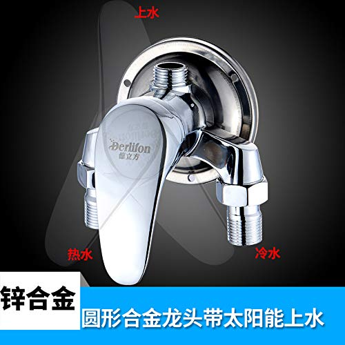 G redOOY Mixing water valve    hot and cold faucet bathroom bathroom wall mounted mixing valve shower faucet switch hot and cold faucet shower, [three links] copper body faucet five block shower set O