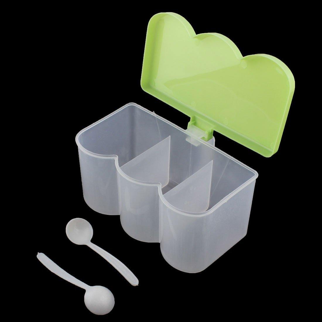 Amazon.com | Titular dispensador eDealMax plástico de cocina 3 Componentes Especias contenedor caja del condimento verde: Condiment Pots