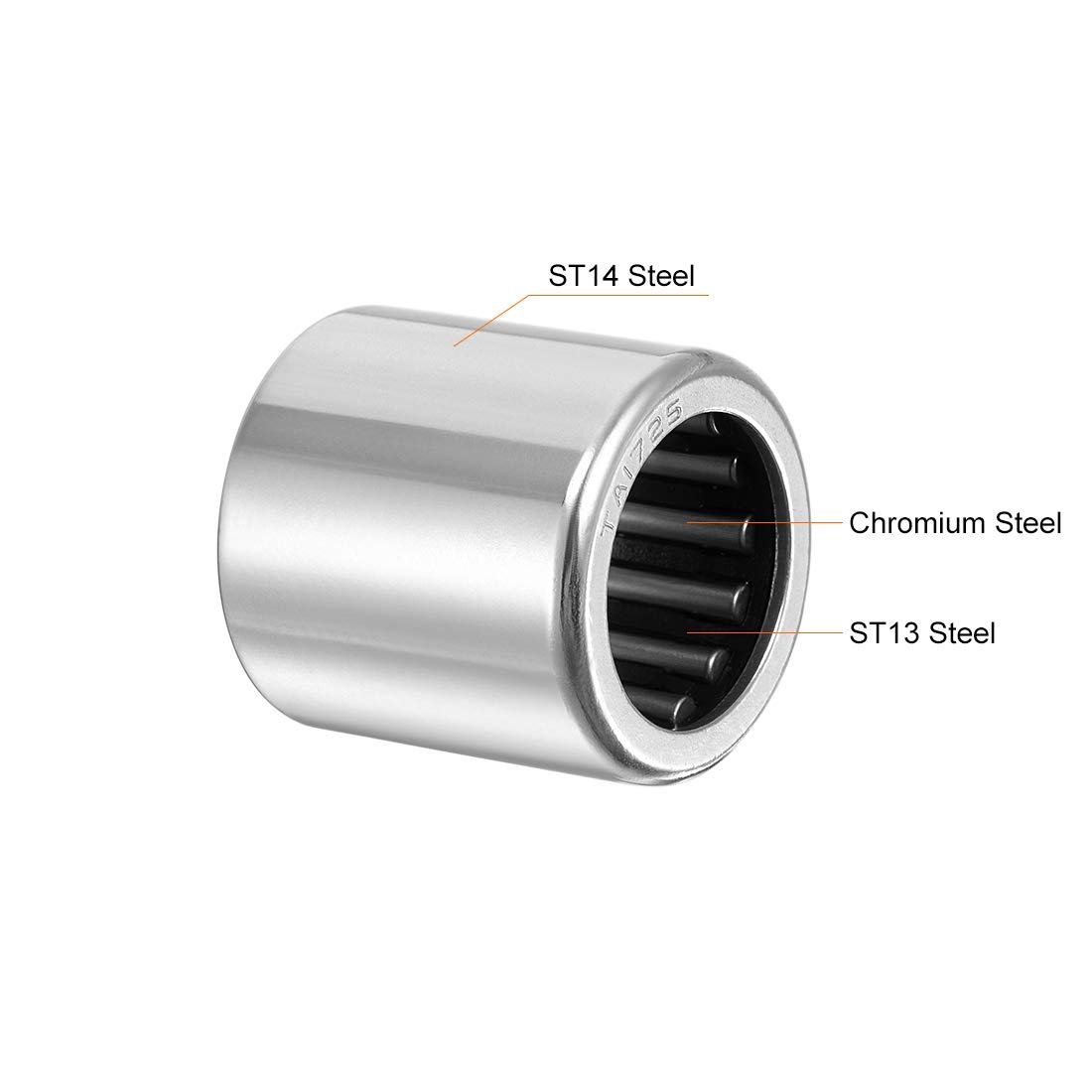 sourcing map TA1725 Needle Roller Bearings 17mm Bore 24mm OD 25mm Width Drawn Cup Open End