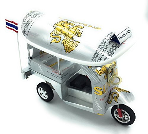 WD store Thailand Thai tuktuk classic handmade Thai TUK TUK taxi made of SINGHA beer can aluminium model Collection show in room home office or great gift all seasion put in plastic clear box