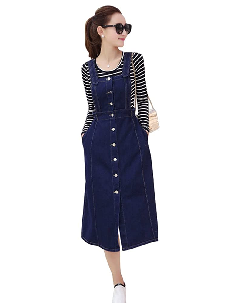 ceaaf5bdaf6 Drasawee Women s Midi Button Denim Suspender Skirt Pockets Jean Strap  Overall Dress  Amazon.ca  Clothing   Accessories