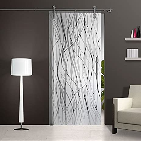 sliding glass barn door opaque frameless sandblasted frosted with elegant design - Frosted Glass Barn Door