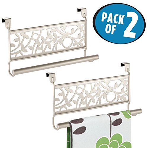 mDesign Kitchen Over-the-Cabinet Vine Towel Bars for Hand Towels, Dish Towels - Pack of 2, Satin by mDesign